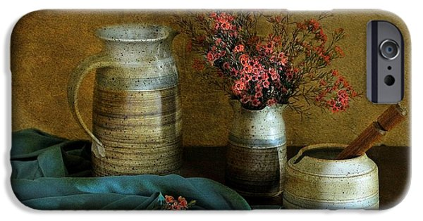 Still Life With Pitcher iPhone Cases - Autumns Earth iPhone Case by Diana Angstadt