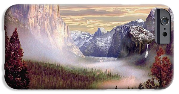 Half Dome Paintings iPhone Cases - Autumns First Snowfall iPhone Case by Ronald Chambers