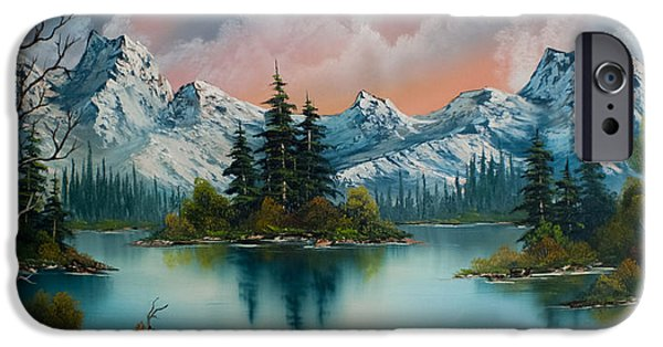 Bob Ross Paintings iPhone Cases - Autumns Glow iPhone Case by C Steele