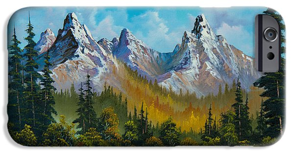 Sawtooth Mountain Paintings iPhone Cases - Autumns Magnificence iPhone Case by C Steele