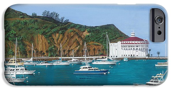 Wrigley Paintings iPhone Cases - Avalon Harbor Catalina Island  iPhone Case by Robert Bradshaw