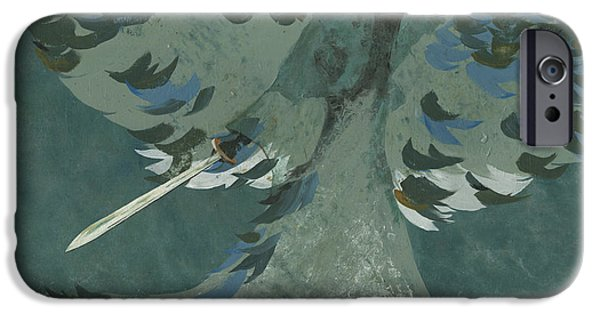 Angel Blues Paintings iPhone Cases - Avenging Angel iPhone Case by John Wyckoff