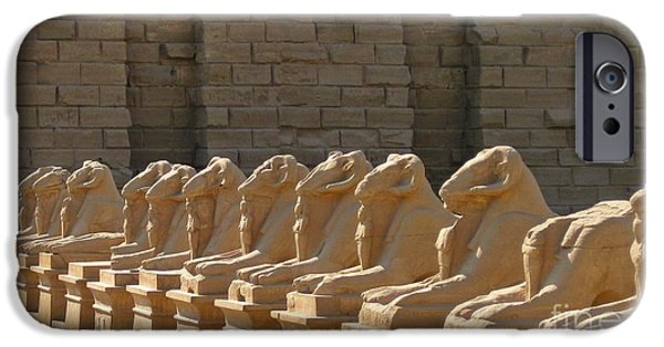 History Sculptures iPhone Cases - Avenue of Sphinxes iPhone Case by John Malone