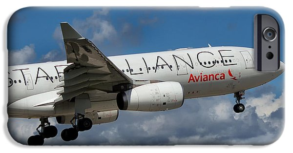 Star Alliance Photographs iPhone Cases - Avianca Star Alliance Airbus A-330 iPhone Case by Rene Triay Photography