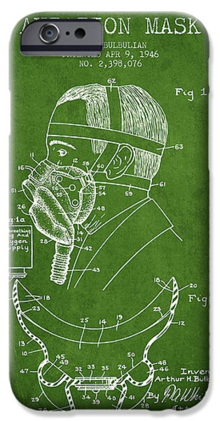 Aviator iPhone Cases - Aviation Mask Patent from 1946 - Green iPhone Case by Aged Pixel