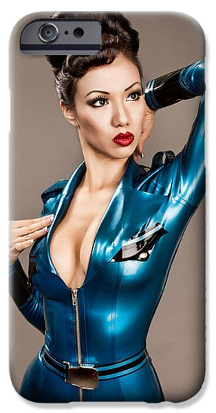 Fabulous Gifts iPhone Cases - Aviator Vixen 1176 - Science Fiction Pinup girl iPhone Case by Gary Heller
