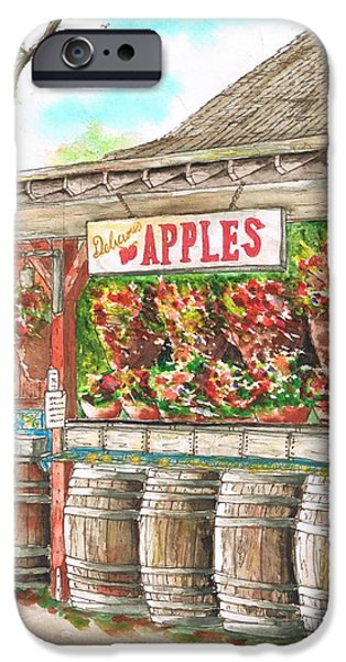Barrel Paintings iPhone Cases - Avila Valley Barn with Delicious Apples sign in Avila Beach - California iPhone Case by Carlos G Groppa