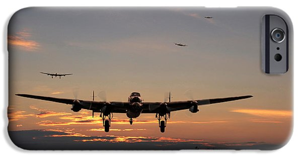 Raf iPhone Cases - Avro Lancaster - Dawn Return iPhone Case by Pat Speirs