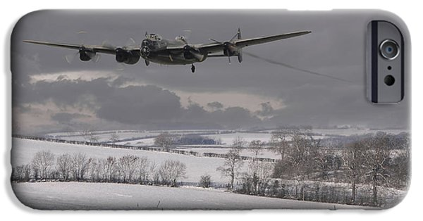 Classic Aircraft iPhone Cases - Avro Lancaster - Limping Home iPhone Case by Pat Speirs
