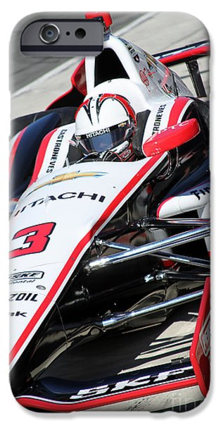 Indy Car iPhone Cases - Awaiting Helio Castroneves  iPhone Case by Bryan Maransky