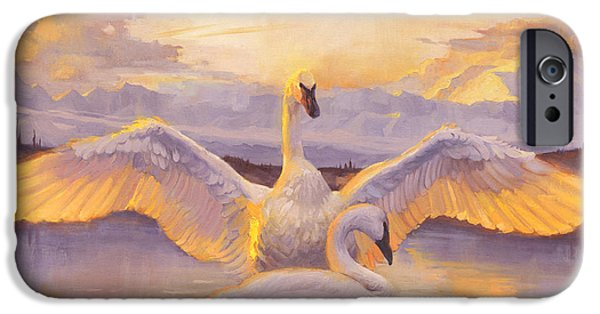 Swans... iPhone Cases - Awakening iPhone Case by Francois Girard