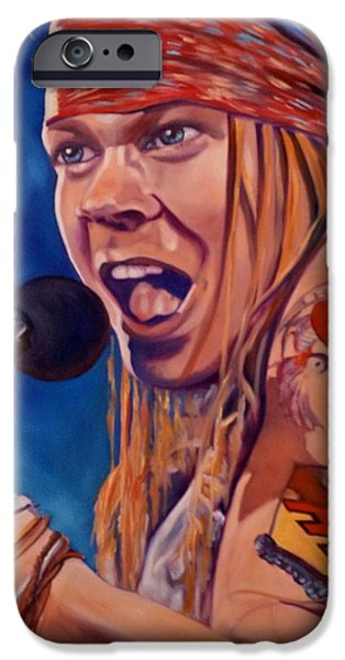 Axl Rose Paintings iPhone Cases - Axl iPhone Case by Christina Clare