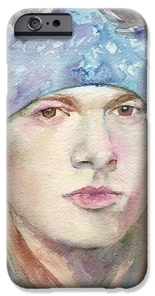 Axl Rose Paintings iPhone Cases - Axl Rose iPhone Case by Marina Sotiriou