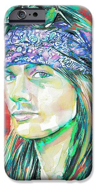 Axl Rose iPhone Cases - Axl Rose Portrait.2 iPhone Case by Fabrizio Cassetta