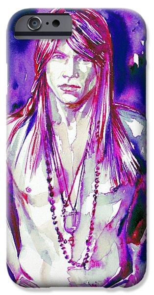 Axl Rose iPhone Cases - Axl Rose Portrait.3 iPhone Case by Fabrizio Cassetta