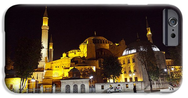 East Pyrography iPhone Cases - Aya Sophia in Istanbul Turkey at night iPhone Case by Raimond Klavins