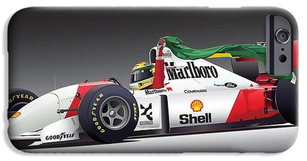 Formula One iPhone Cases - Ayrton Senna Da Silva art iPhone Case by Alain Jamar
