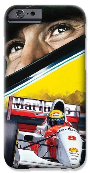 Formula One iPhone Cases - Ayrton Senna Artwork iPhone Case by Sheraz A