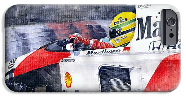 Sport Paintings iPhone Cases - Ayrton Senna McLaren 1991 Hungarian GP iPhone Case by Yuriy Shevchuk