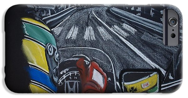One Pastels iPhone Cases - Ayrton Senna on board at Monaco 89 iPhone Case by Juan Mendez