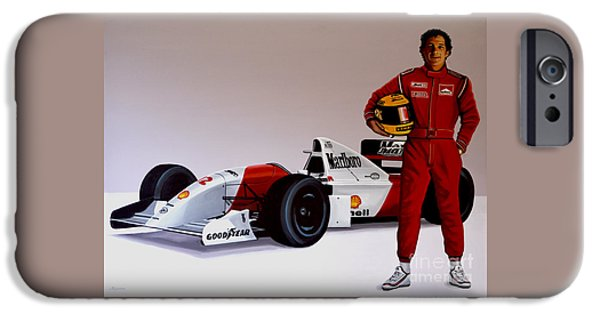 Racing iPhone Cases - Ayrton Senna iPhone Case by Paul Meijering