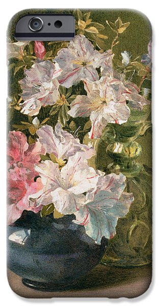 Floral Photographs iPhone Cases - Azaleas In A Jug iPhone Case by Maud Naftel