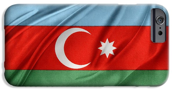 Patriotism iPhone Cases - Azerbaijan flag iPhone Case by Les Cunliffe