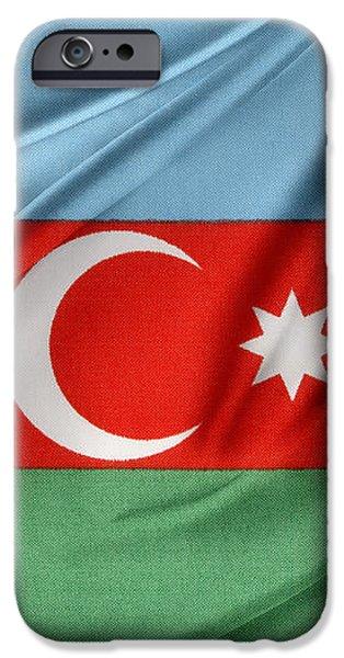 Azerbaijan flag iPhone Case by Les Cunliffe