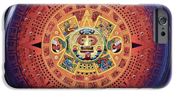 History Reliefs iPhone Cases - Aztec Calendar iPhone Case by Michael Jager