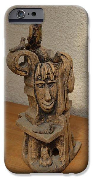 Mind Sculptures iPhone Cases - Aztec Fantasy Surreal front image 1 iPhone Case by Rachel Hershkovitz