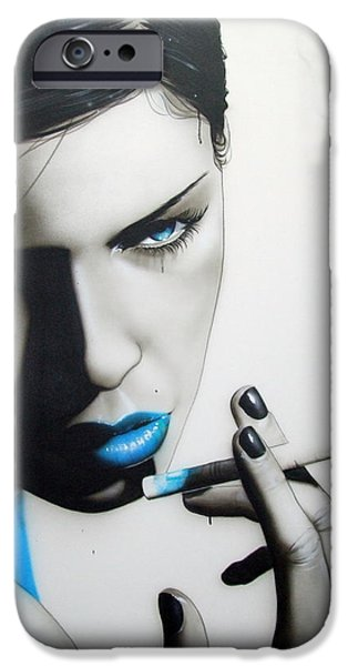 Lips iPhone Cases - Azure Addiction iPhone Case by Christian Chapman Art