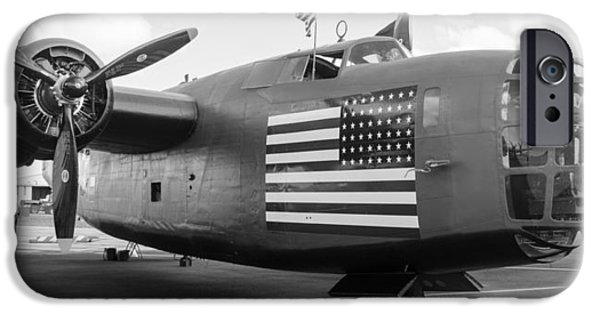 American Flag iPhone Cases - B-24 Liberator iPhone Case by Alan Marlowe