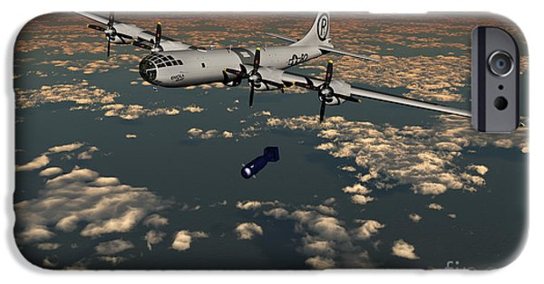 Bombing iPhone Cases - B-29 Superfortress Dropping Little Boy iPhone Case by Mark Stevenson