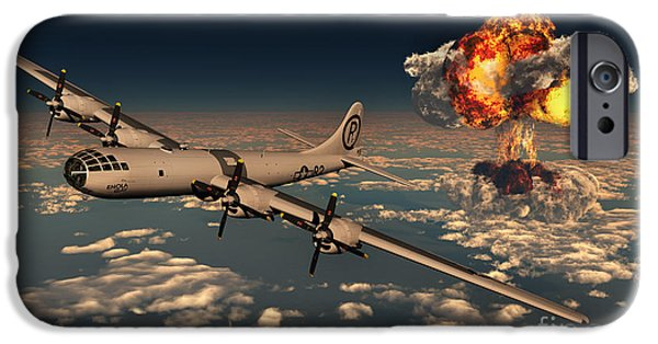 Bombing iPhone Cases - B-29 Superfortress Flying Away iPhone Case by Mark Stevenson