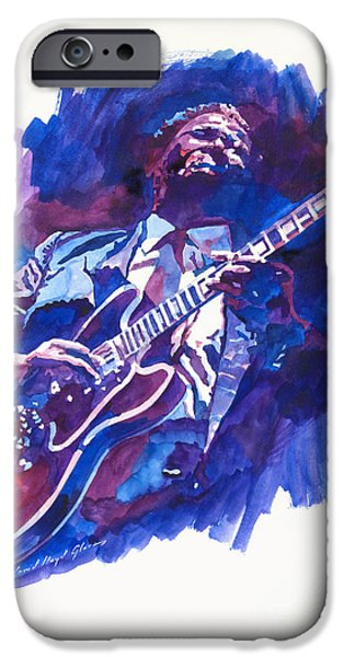 B.b.king iPhone Cases - B. B. King Blue iPhone Case by David Lloyd Glover