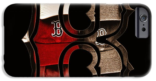 Bosox iPhone Cases - B for BoSox - Vintage Boston Poster iPhone Case by Joann Vitali