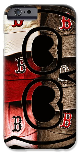 B for BoSox - Vintage Boston Poster iPhone Case by Joann Vitali