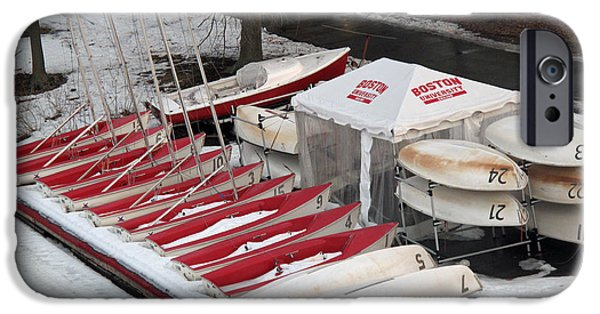 Charles River iPhone Cases - B U Wintered Boats iPhone Case by Barbara McDevitt