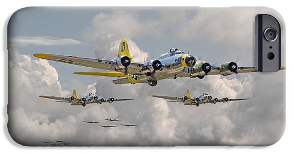 Classic Aircraft iPhone Cases - B17 486th Bomb Group iPhone Case by Pat Speirs