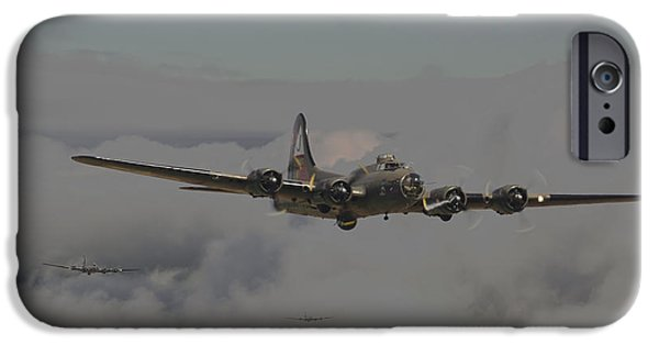 Classic Aircraft iPhone Cases - B17 Outbound - Heavy Weather iPhone Case by Pat Speirs