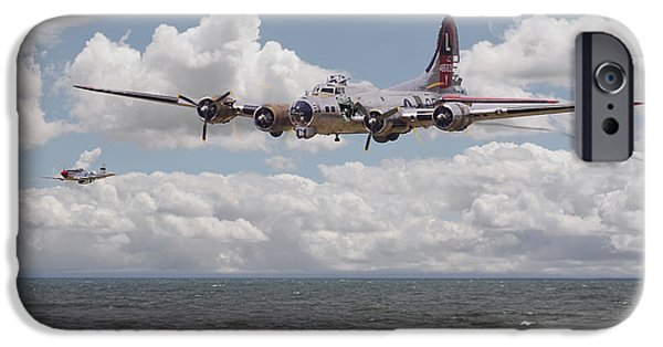 Classic Aircraft iPhone Cases - B17 The Hardest Mile iPhone Case by Pat Speirs