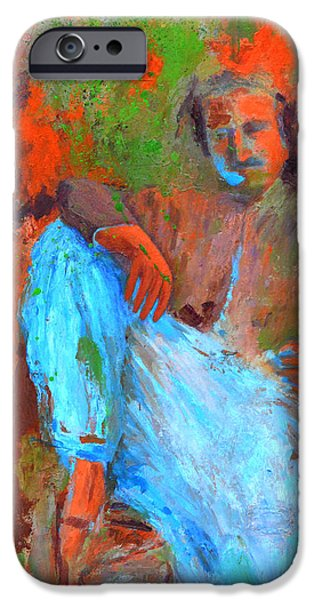 Baba Paintings iPhone Cases - Baba in a Chair iPhone Case by Joe DiSabatino