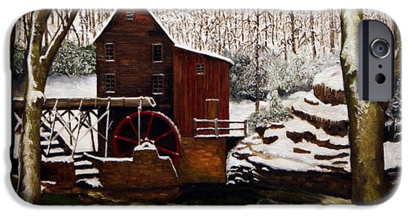 Grist Mill iPhone Cases - Babcock Mill in the Snow iPhone Case by Timothy Smith