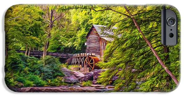 Grist Mill iPhone Cases - Babcock State Park WV - Paint iPhone Case by Steve Harrington