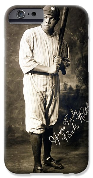 Autographed Photographs iPhone Cases - Babe Ruth 1920 iPhone Case by Mountain Dreams