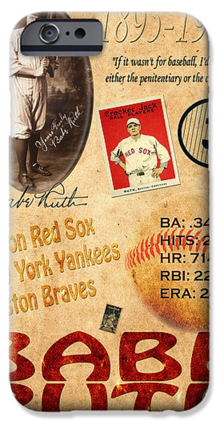 The Red Sox iPhone Cases - Babe Ruth iPhone Case by Andrew Fare