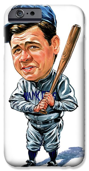 Art iPhone Cases - Babe Ruth iPhone Case by Art