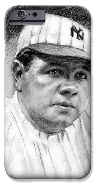 Red Sox Drawings iPhone Cases - Babe Ruth iPhone Case by Viola El