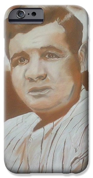 Baseball Pastels iPhone Cases - Babe Ruth Drawing iPhone Case by Andrew Marks