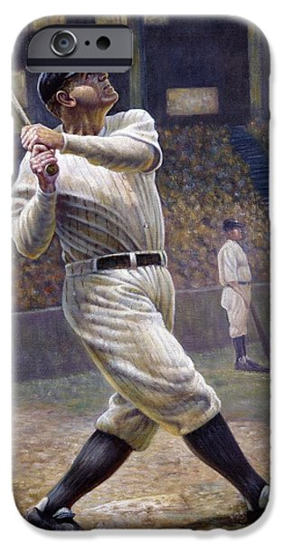Pitcher iPhone Cases - Babe Ruth iPhone Case by Gregory Perillo